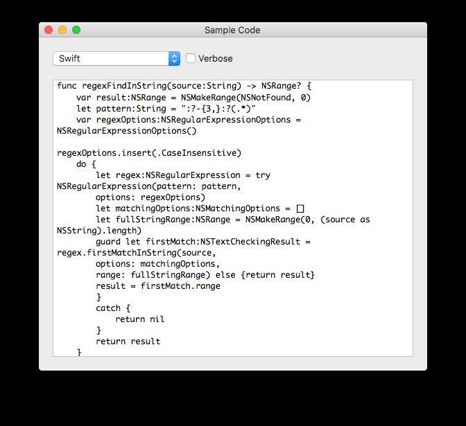 The Sample Code Window